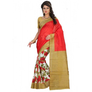 Pink And Gold Color Printed Bhagalpuri Silk Saree With Blouse