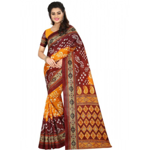 Yellow And Maroon Color Printed Bhagalpuri Silk Saree With Blouse