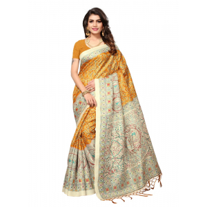 Golden Color Printed Khadi Silk Jhalor Saree With Blouse