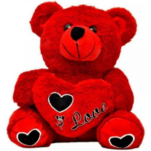 45Cm Heart Teddy Bear With I love U Msg-Red