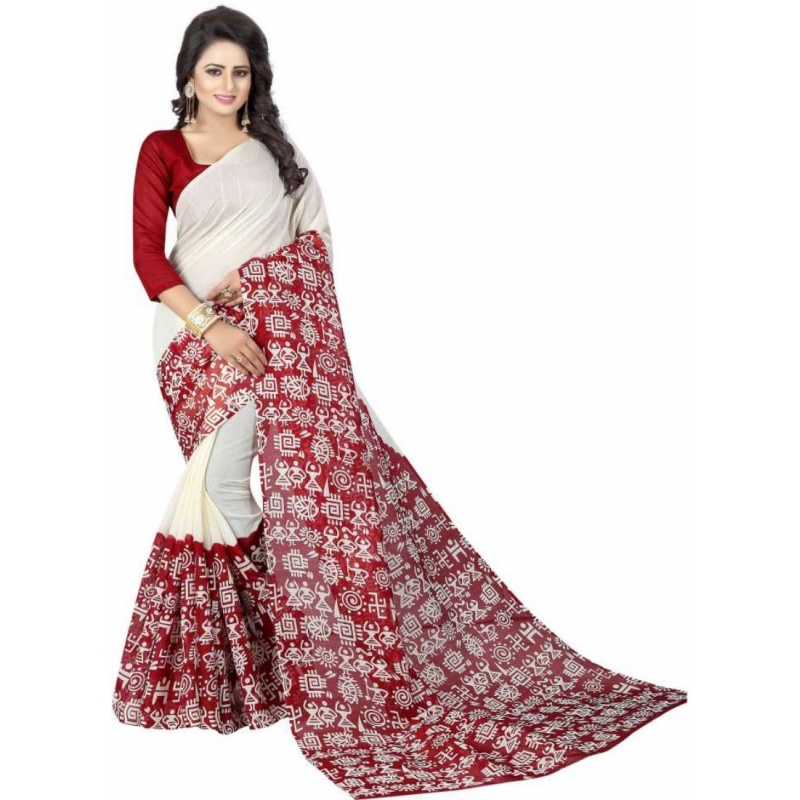 Red And White Color Printed Bhagalpuri Silk Saree With Blouse