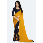 Yellow Color Printed Georgette Saree With Blouse