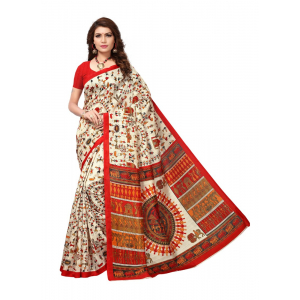 Multi Color Printed Bhagalpuri Silk Saree With Blouse