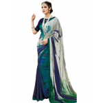 Georgette Digital Printed Saree With Blouse-Blue with Multi Color Saree