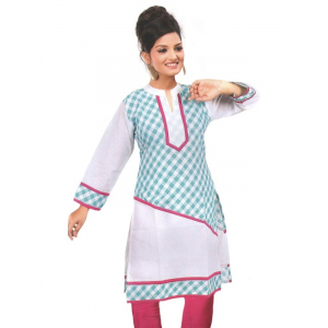 White Printed Cotton Women's Kurti