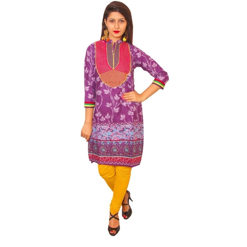 Purple Cotton Straight Embroidery Kurti