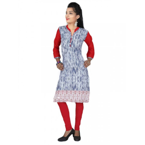 Blue Cotton Printed Casual Women's Kurti