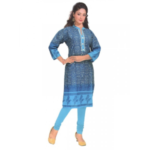 Women's  Printed Cotton Blue Formal  Kurta