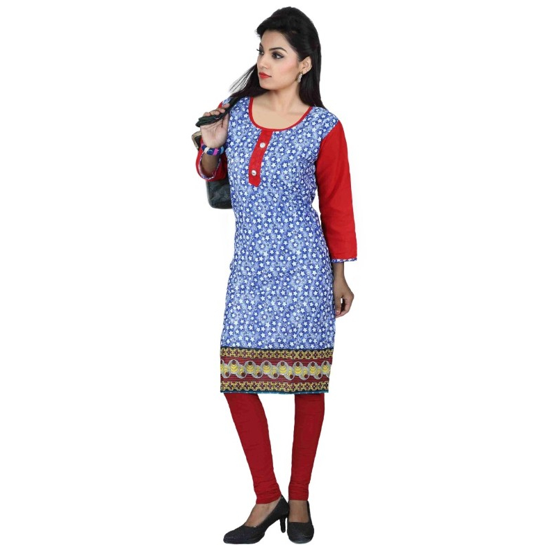 Blue and Red Printed Casual Women's Kurti
