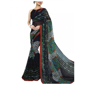 Chiffon Digital Color Printed Saree-Black with Multi