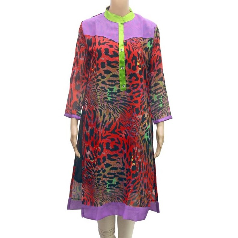 Multicolor Leopard Print Synthetic Straight  Kurta