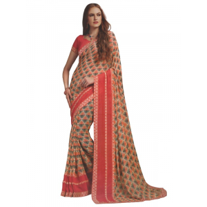 Georgette Digital Printed Saree With Blouse Multi Colored Saree