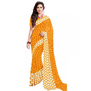 Generic Womens Geogrette Saree with Blouse Digital Printed Saree (Yellow, 6.25 Mtr)