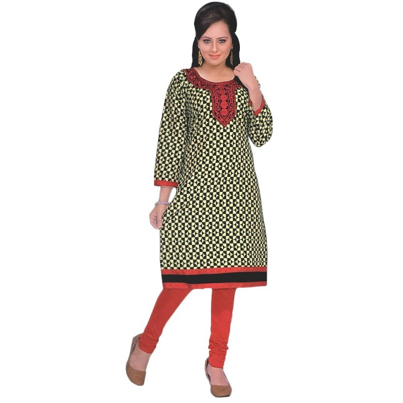 Black and Red Printed Round Embroidered Neck Women's  Kurta