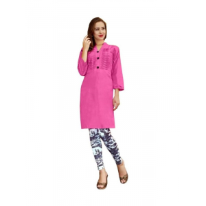 Generic Womens Cotton Straight Kurti (Pink, XL)