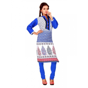 Blue and White Printed Casual Women's Kurti