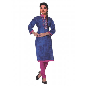Blue Women's Chinese Collar Embroidered Kurti