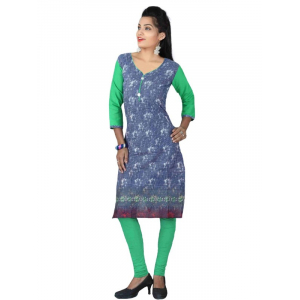 Green & Blue Cotton Printed Casual Kurti