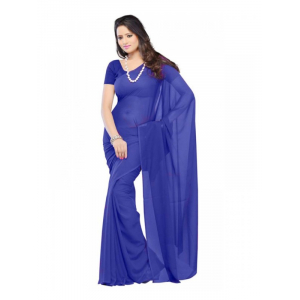 Plain Georgette Saree for Women-Blue