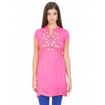 Women's Printed Pink Embroidered Short Kurta