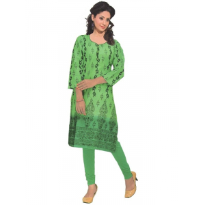 Generic Womens Cotton Straight Kurti (Green, M)