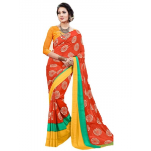 Georgette Digital Saree With Blouse-Red