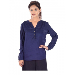 Generic Womens Rayon Western Medium Top (Blue, XXXL)