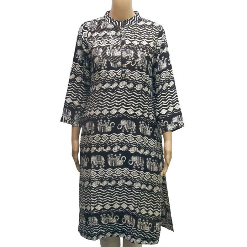 Rayon Elephant Printed Women's Kurti In Black
