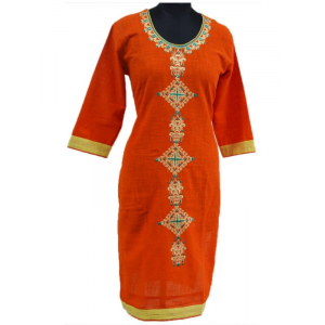 Generic Womens Cotton Straight Kurti (Orange, Multi, L)