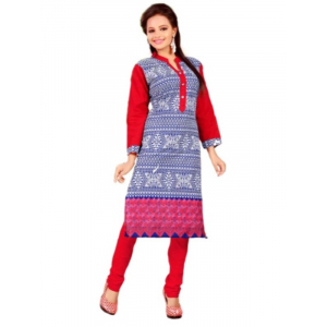 Blue & Red Printed Casual Women's Kurti