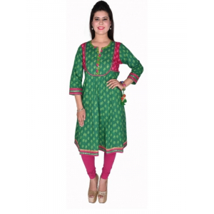 Green Cotton 60-60 Anarkali Block Printed Kurti