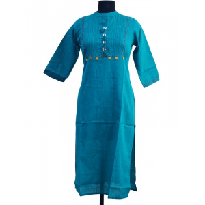 Long Cotton Slub Kurti With Coin And Pintuck Kurti