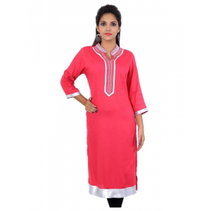 Rayon 120 gsm pink plain dyed kurti with zari thread embridery