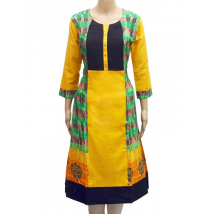 Generic Womens Mix Cotton Straight Kurti (Yellow)