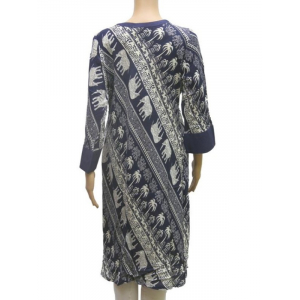 Rayon Elephant Printed Women's Kurti In Blue