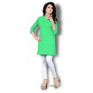 Women's Green Solid Thigh Length Kurta