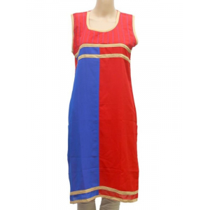 Generic Womens Synthetic Straight Kurti (Red, Blue, M)