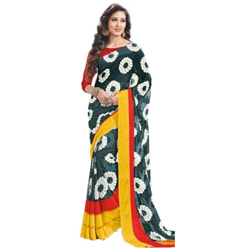 Georgette Digital Saree With Blouse-Green