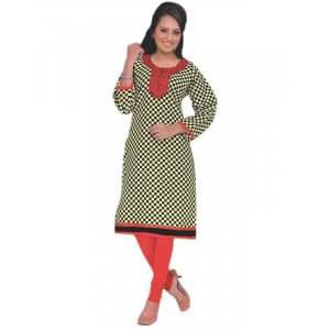 Black & Red Printed Round Embroidered Neck Women's  Kurta