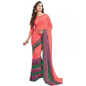 Georgette Digital Saree With Blouse-Peach Color