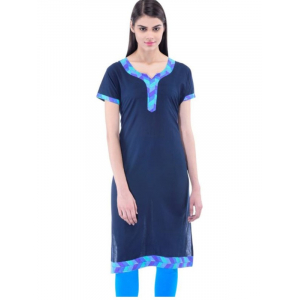 Women's  Printed Navy Blue Straight  Kurta