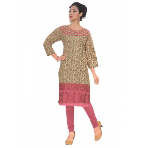 Women's  Printed Cotton Beige & Pink Straight  Kurta