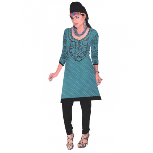 Blue Designer Round Embroidered Neck Women's  Kurta