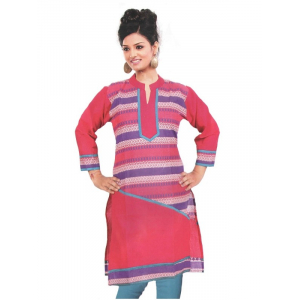 Pink Printed Cotton Women's Kurti
