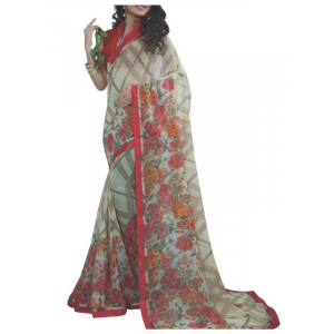 Chiffon Digital Color Printed Saree-Sandal with Flower