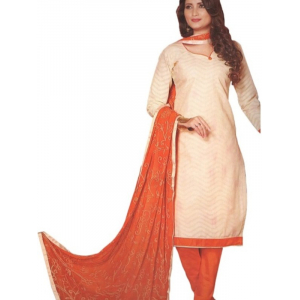 Printed Cotton Salwar Suit Dress Material With Chiffon Dupatta For Women_White