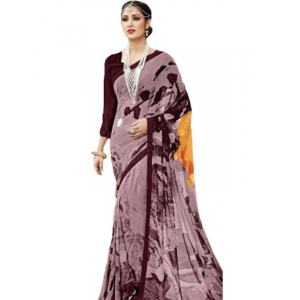 Generic Womens Georgette Digital Printed Saree (Dusty Brown, 6.25 Mtr)