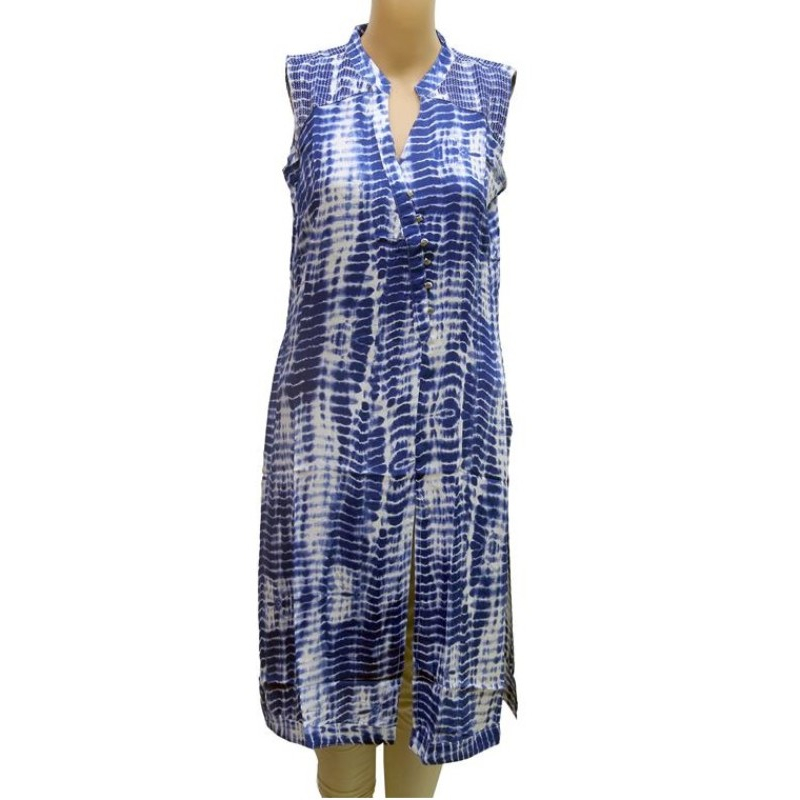 Blue Smoky Printed Front Slit Rayon Sleeveless Kurti