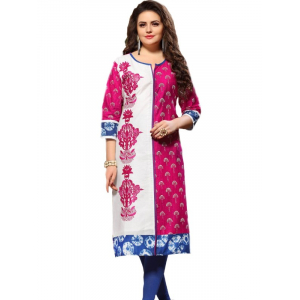 Generic Womens Long Cotton Straight Kurti (Red, Multi, XL)