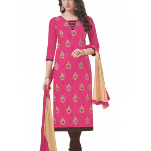 Pink Embroidered Bhagalpuri Silk Unstitched Dress Material For Women